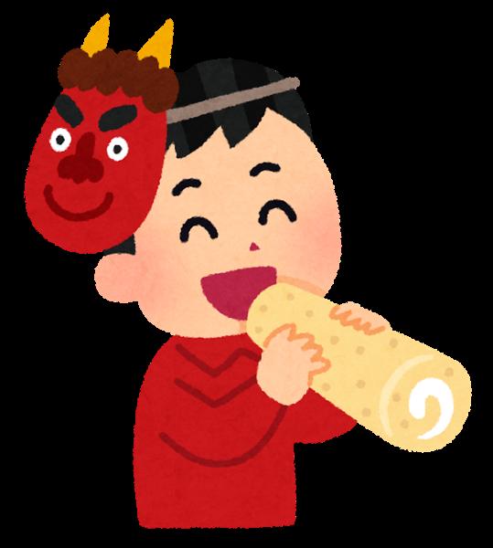 節分に恵方ロールを食べる少年