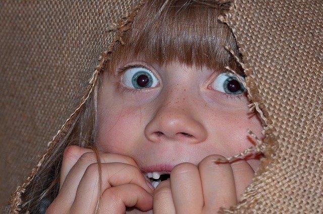 女の子が何かを見て恐れている